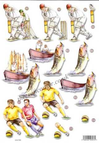Cricket, Fishing & Football Die Cut 3d Decoupage Sheet From Craft UK Ltd